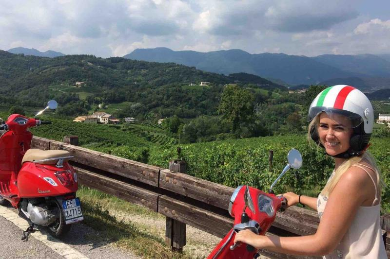 Vespa rides in the Prosecco Superiore Hills